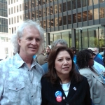 Bucky with the Secretary of Labor, Hilda Solis, in Chicago, 2009