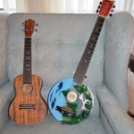 Toni Wright Halker's uke and the guitar she painted